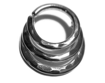 Triple Hammered Septum Ring