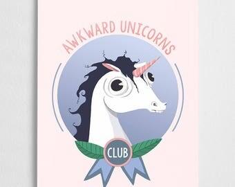 Unicorn illustration, club badge art print // Awkward Unicorn Club