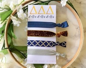 Delta Delta Delta Hair Ties- Tri Delta, big/little gift, bid day gift, sorority gear