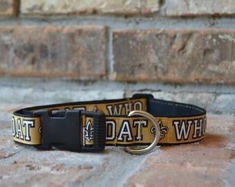 Who Dat New Orleans Saints Fleur de Lis  Dog Collar  Available in sizes L,  M, S, and Mini