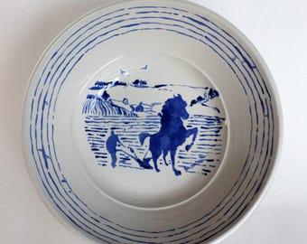 Horse and Plough Handpainted Ceramic Fruit Bowl/ Serving Dish / Salad Bowl