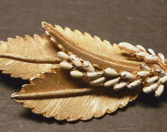 Burnished Gold metal Leaf Brooch/pin with white seed stones