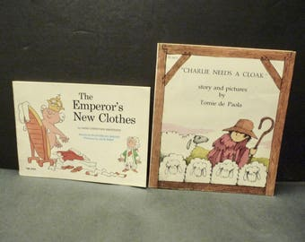2 Children's Books- Charlie Needs a Cloak and The Emperor's New Clothes- paperbacks -1970's