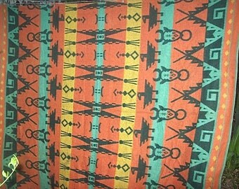 Vintage Circa 1930's Cotton FLANNEL CAMP BLANKET in Colorful American Indian Pattern
