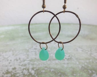 Matte Opal earrings, Seafoam Green earrings, Circle Earrings, Teardrop earrings, Gift for women, Romantic earrings, Ocean inspired