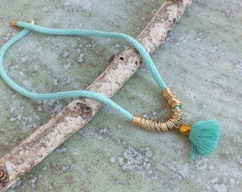 Tassel Necklace, Mint rope Necklace, Statement Necklace ,Mint and Gold Necklace, Bold necklace
