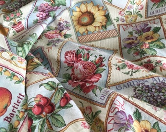Vintage Concord Fabrica Printed Cotton Yardage Fruits & Flowers