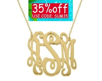 Monogram necklace - 1.25 inch Personalized Monogram - 925 Sterling silver 18k Gold Plated Mothers day gift Bridesmaid necklace