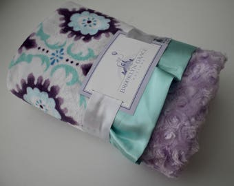 Minky Flourish Cuddle Lilac, Purple, Saltwater Blue with Lavender Rose Swirl Minky, Baby Blanket, Crib Bedding, Nursery, Baby Shower