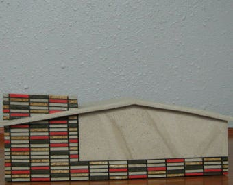 Ceramic Mid-Century Modern Red Brick House Sculpture