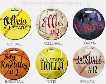Personalized Watercolor Sports Bag Tag-Luggage Tag Personalized Luggage Finder-Soccer-Baseball-Basketball-Team Gift-Luggage ID Tag-Ball Team