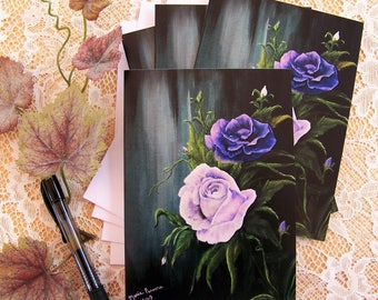 Purple Roses, Floral Note Cards 4 cards to a pack