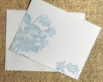 Light Blue Daliah Letterpress flat Notecard with Envelope