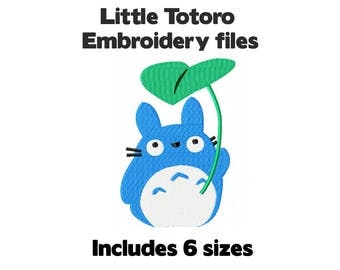 Machine embroidery design file - Totoro with leaf - 6 sizes kawaii cute anime for craft DIY