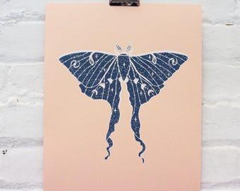 Glow in the Dark Luna Moth Screen Print