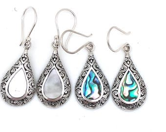 Sterling Silver with Abalone or Mother of Pearl Bali Earrings