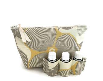 Essential Oil Carrying Case, Oil Storage, Essential Oil Holder, Oil Bag, Optic Blossom Linen, 14 Bottles