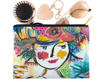Accessory Pouch - Zip Pouch - Clutch Bag - Painted Clutch - Zip Clutch Bag - Women's Handbags - Artsy Clutches - Handpainted Clutch