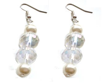 Pearl and Clear Crystal Earrings, White Earrings, Bridal Earrings, Pearl Earrings, Gift