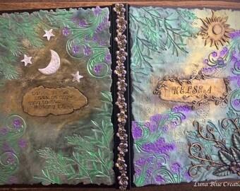 Sun & Moon Sketchbook, Personalized Sketchbook, Custom Sketchbook, Polymer Clay Sketchbook, Sketchbook, Personalized Blank Book, Sketchbook