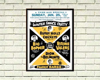 Reprint of a 50's Buddy Holly Concert Poster