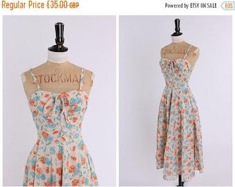 ON SALE Vintage original 1970s does 1950s pretty blue and orange floral print dress UK 4 6 Us 0 2 Xxs xs
