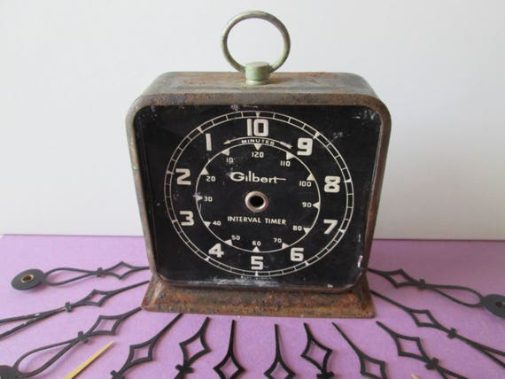 Old Gilbert Interval Timer Clock and Assorted Clock Hands  for your Clock Projects - Steampunk Art - Jewelry Making And etc...