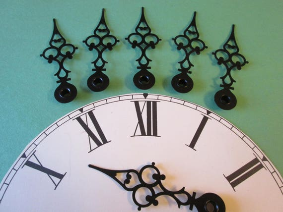"6 Vintage Black Steel Serpentine Style 3 3/4"" Clock Hands for your Clock Projects - Jewelry Making - Steampunk Art"