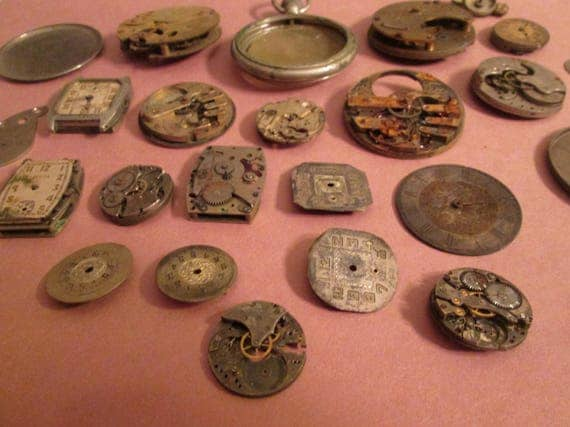 Antique & Vintage Partial Pocket Watch and Wrist Watch Mechanisms for your Watch Projects - Steampunk Art - Jewelry Making.