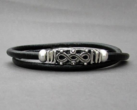 Double Wrap Leather Bracelet, Tribal Silver Mens Beaded Bracelet, Bracelet For Him, Antique Silver Plated, Customized On Your Wrist