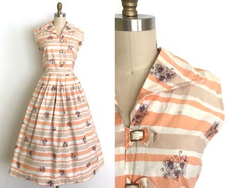 vintage 1950s dress | 50s buckle striped day dress