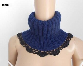 COL SNOOD, echarpe bleu au trico dentelle fait a main/snood tricot/accessoires tricotés/ Tour du cou crocheté/col roulé