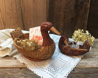 Vintage Wicker Duck Basket Set/Set of Two/Storage/Planters