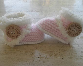 White Baby Girl Booties With Pink Bows Crochet Baby Boots