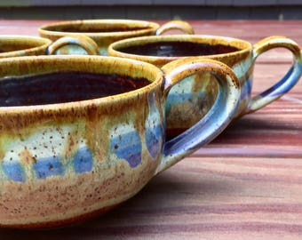 Ceramic Cappuccino Mugs - Pastel Ocean Love