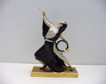 art deco Robj porcelain tambourine dancer