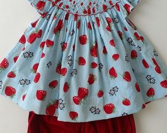 Smocked Strawberry Bloomer Set