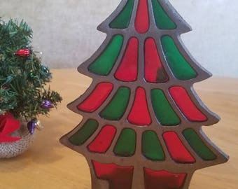 Vintage Stained Glass Christmas Tree Candle Holder