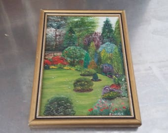 Small Vintage Oil Painting of a Garden