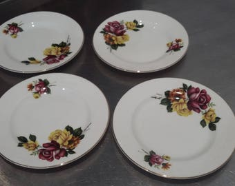 4 Royal Grafton Roses Vintage tea Side Cake Sandwich Plate Plates