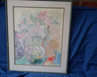 Large Vintage Watercolour Hydrangers and Still Life