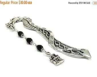 SALE Dragon Bookmark, Castle Charm, Black Beaded Bookmark, Medieval Style Bookmark