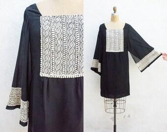 VINTAGE 1960s Black Kimono Sleeve Lace Mini Dress | Angel Sleeve Little Black Dress | Howard Hirsh Black and Cream Mod Dress | Shift Dress