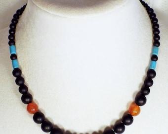 "Cynthia Lynn ""DRAMA"" Matte Onyx, Carnelian & Turquoise Howlite Necklace"