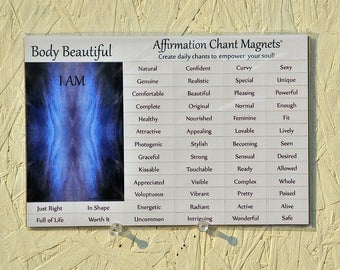 Affirmation Chant Magnets, I AM Daily Mantra, Body Beautiful, Magnetic Words, Gratitude Gift, Confidence Self Esteem, positive inspiration