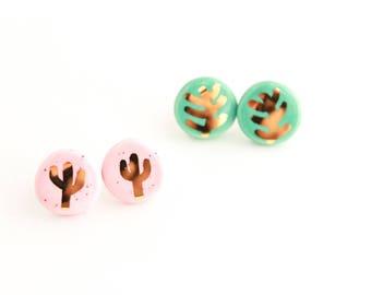 Plant Earrings, Gold Cactus Earrings, Fern Earrings, Gold Jewelry, Plant Lovers Gift, Cactus Stud Earrings, Pink Stud Earrings, Gold Gift