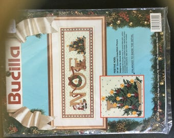 Vintage Bucilla Festive NOEL Counted Cross Stitch Kit 1991 Unopened Christmas Picture