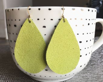 Chartreuse Suede GENUINE LEATHER Earrings