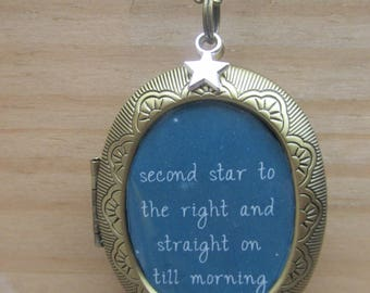 Peter Pan Second Star to the Right Large Bronze Plated Locket