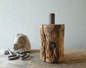 Iron & Old Wood Barn Salvage, Block Cylinder, Vintage Mystery, Found Object and Art Supply /0724
